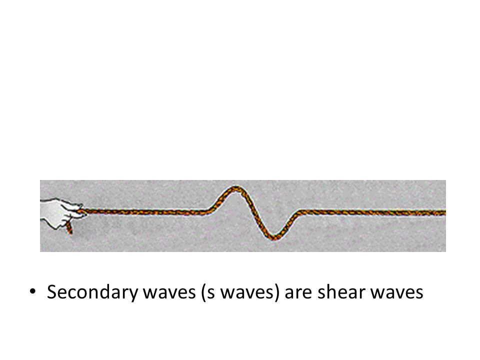 Secondary waves (s waves) are shear waves