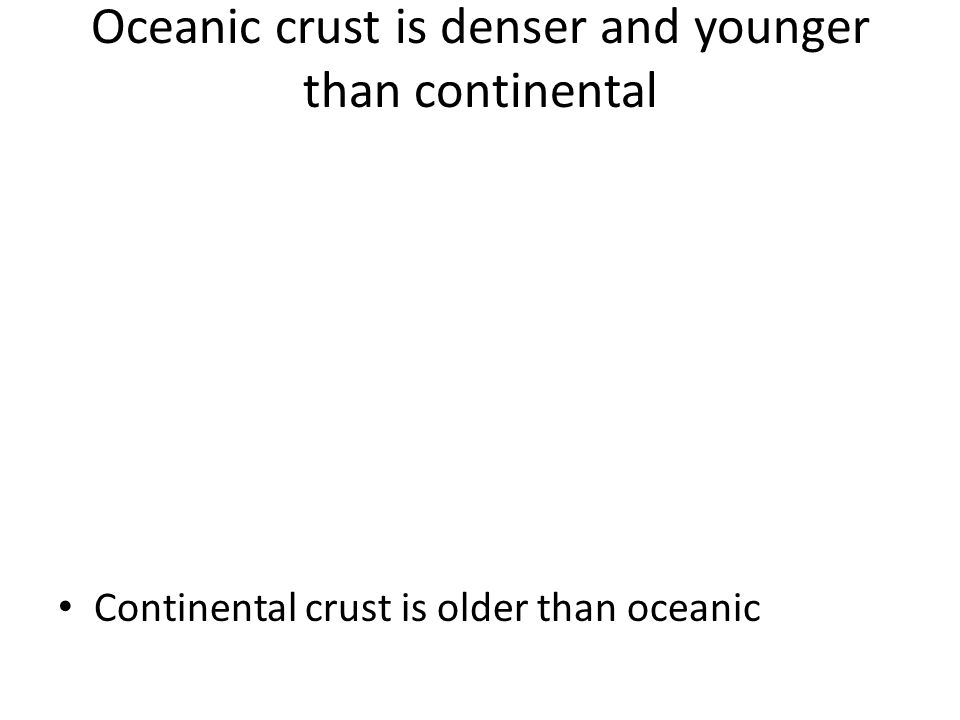 Oceanic crust is denser and younger than continental