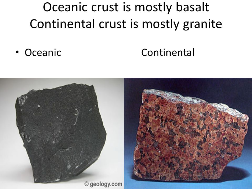 Oceanic crust is mostly basalt Continental crust is mostly granite