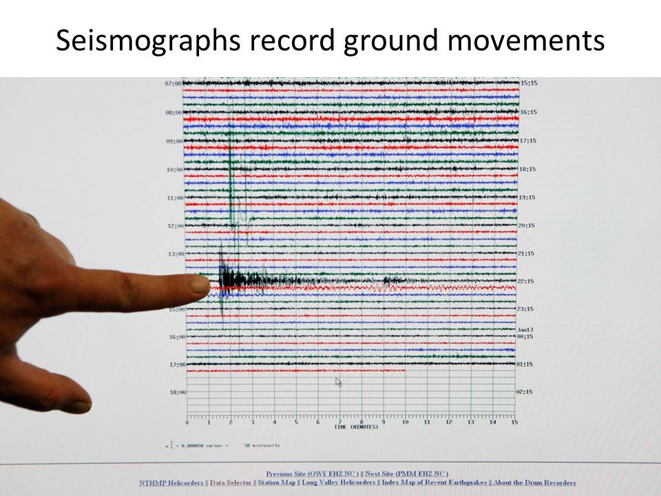 Seismographs record ground movements