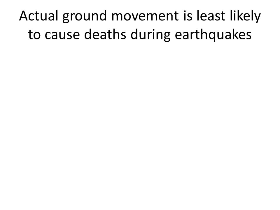 Actual ground movement is least likely to cause deaths during earthquakes