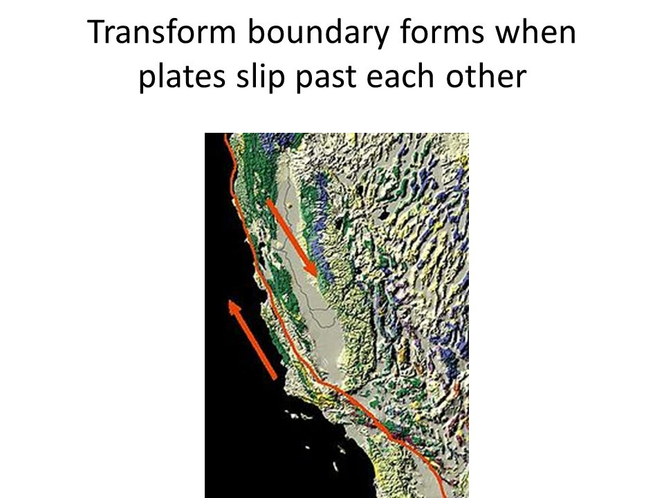 Transform boundary forms when plates slip past each other