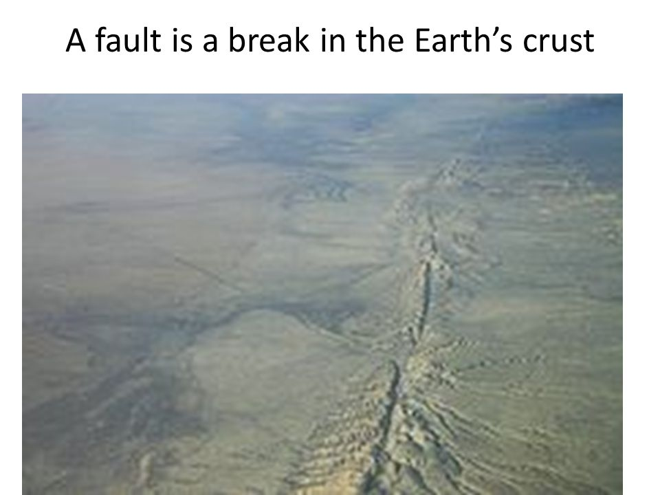 A fault is a break in the Earth's crust
