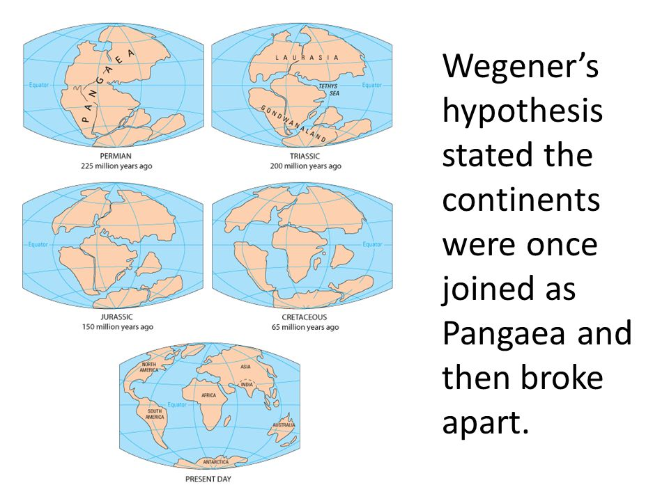 Wegener's hypothesis stated the continents were once joined as Pangaea and then broke apart.