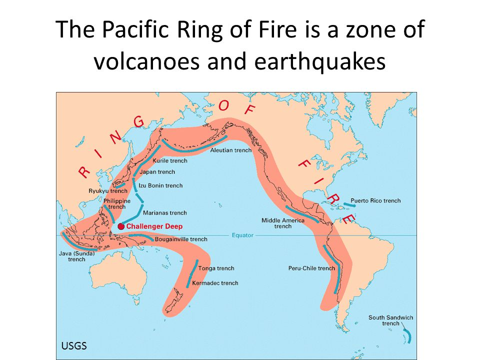 The Pacific Ring of Fire is a zone of volcanoes and earthquakes