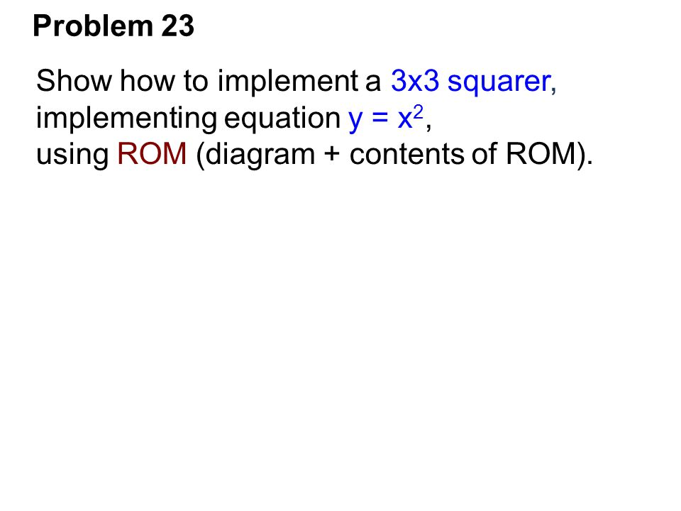 Problem 23 Show how to implement a 3x3 squarer, implementing equation y = x2, using ROM (diagram + contents of ROM).