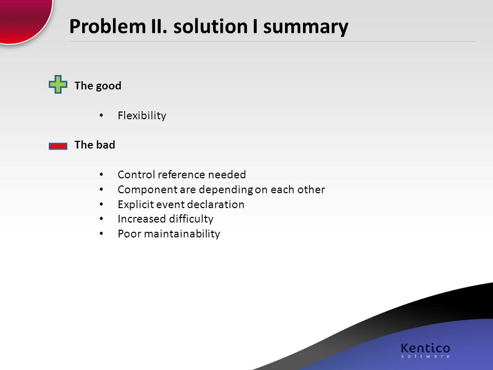 Problem II. solution I summary