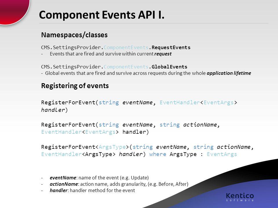 Component Events API I. Namespaces/classes Registering of events