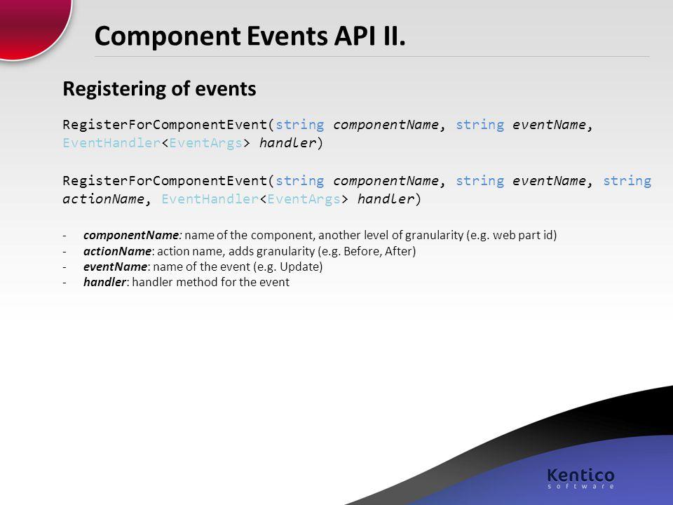 Component Events API II.