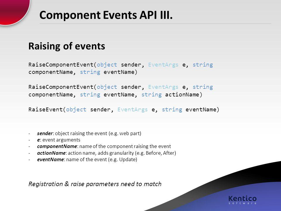 Component Events API III.