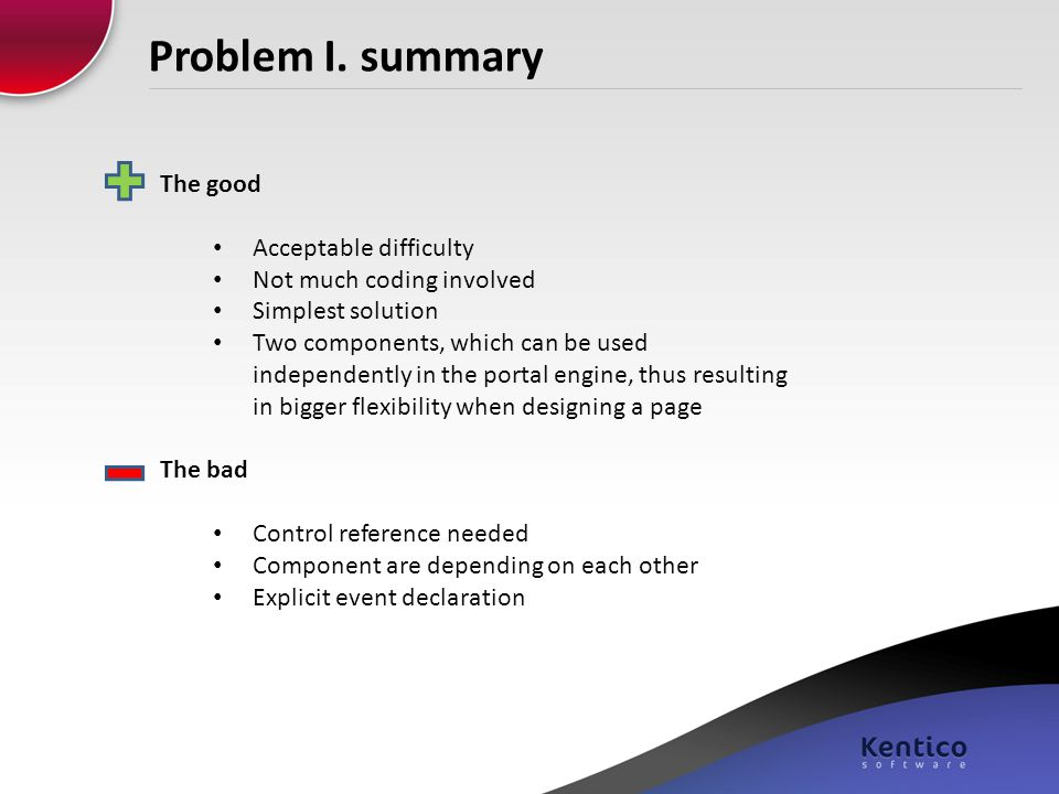 Problem I. summary The good Acceptable difficulty