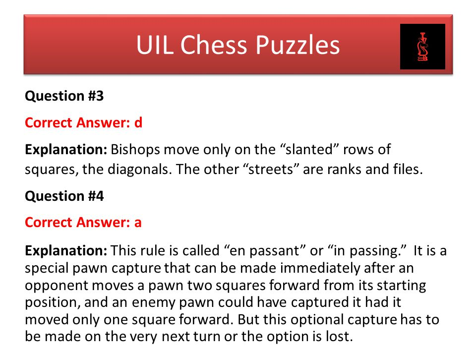 UIL Chess Puzzles Question #3 Correct Answer: d