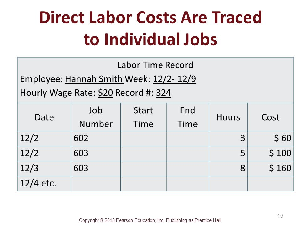 Direct Labor Costs Are Traced to Individual Jobs