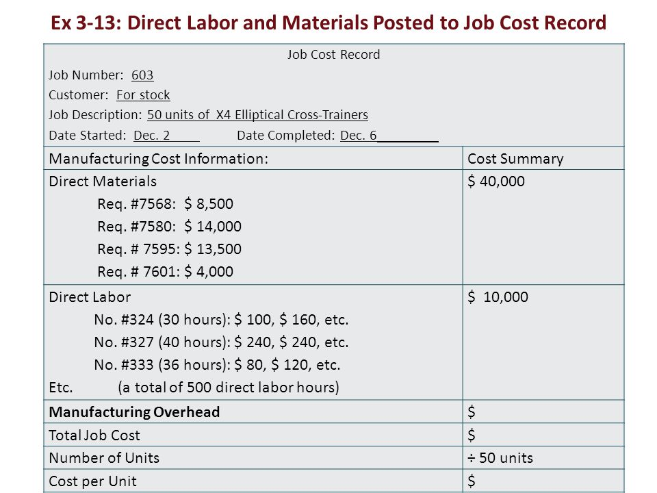 Ex 3-13: Direct Labor and Materials Posted to Job Cost Record