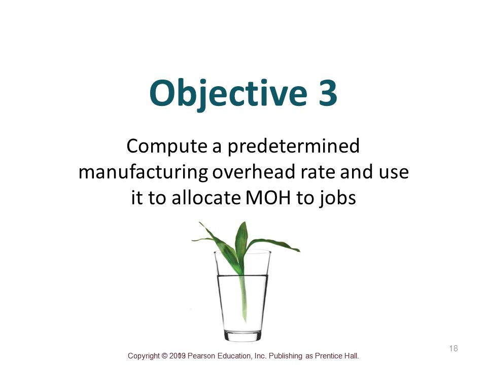 Objective 3 Compute a predetermined manufacturing overhead rate and use it to allocate MOH to jobs.