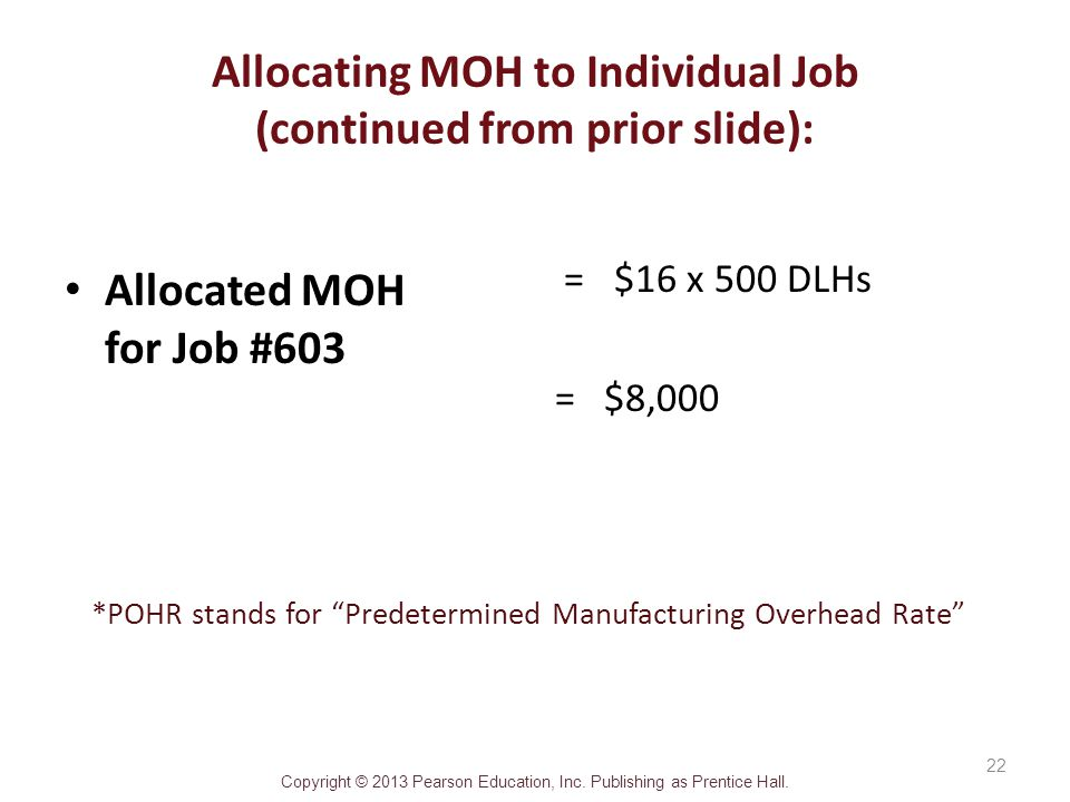 Allocating MOH to Individual Job (continued from prior slide):