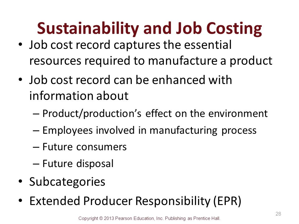 Sustainability and Job Costing