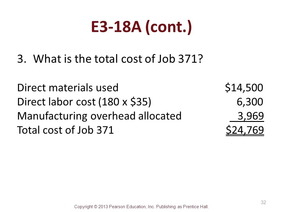 E3-18A (cont.) What is the total cost of Job 371