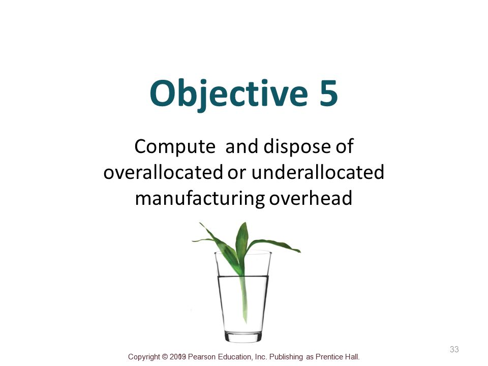 Objective 5 Compute and dispose of overallocated or underallocated manufacturing overhead.