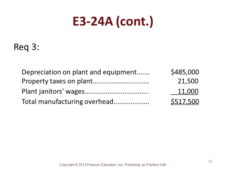 E3-24A (cont.) Req 3: Depreciation on plant and equipment.......