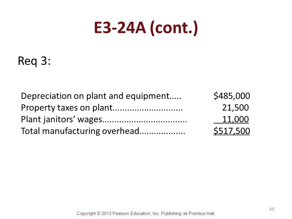 E3-24A (cont.) Req 3: Depreciation on plant and equipment .....