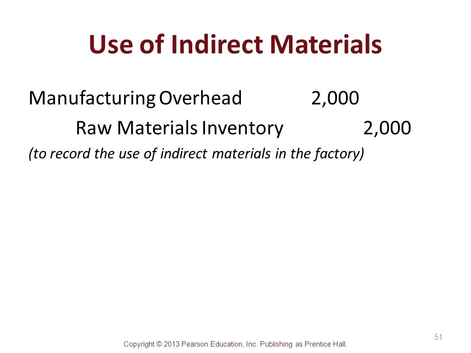 Use of Indirect Materials