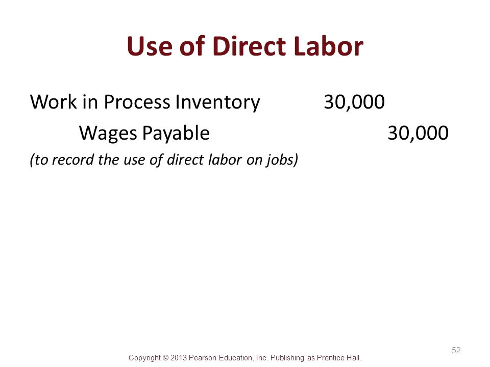 Use of Direct Labor Work in Process Inventory 30,000