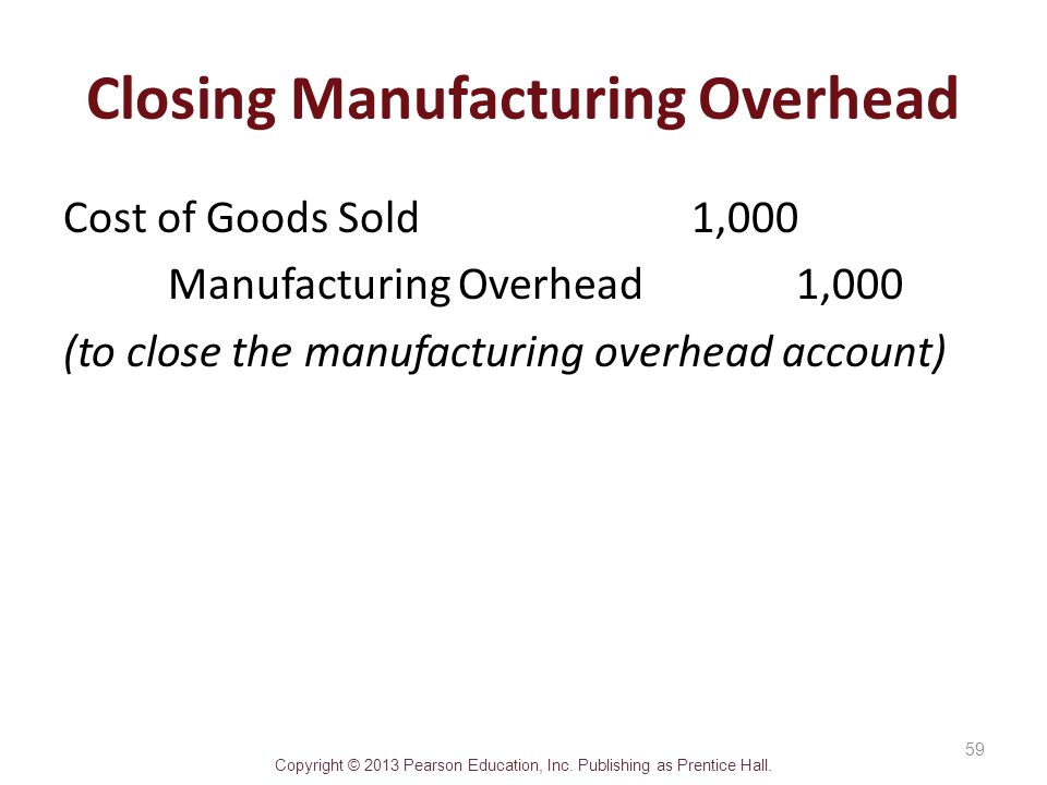 Closing Manufacturing Overhead