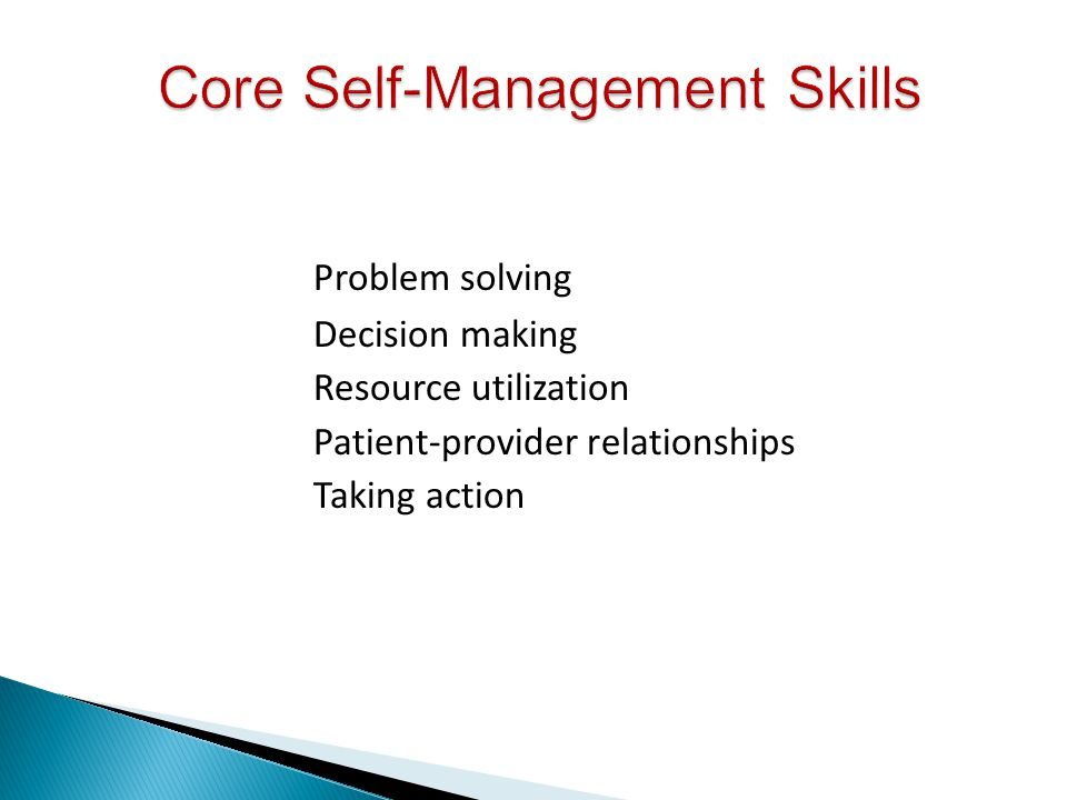 Core Self-Management Skills