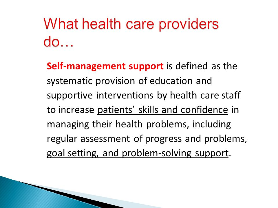 What health care providers do…