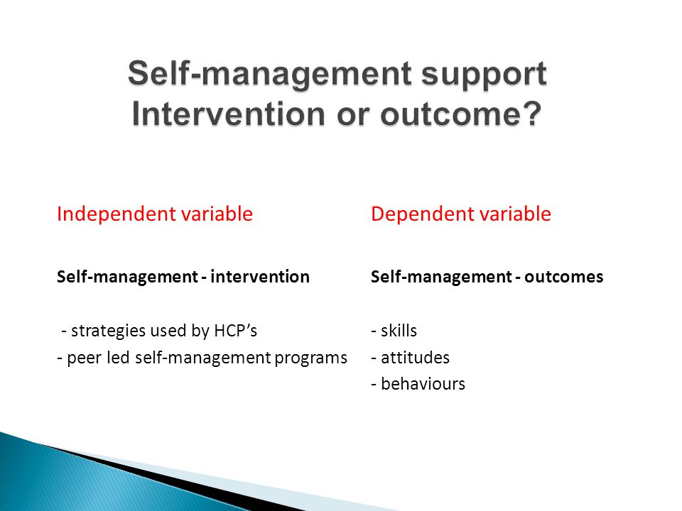Self-management support Intervention or outcome