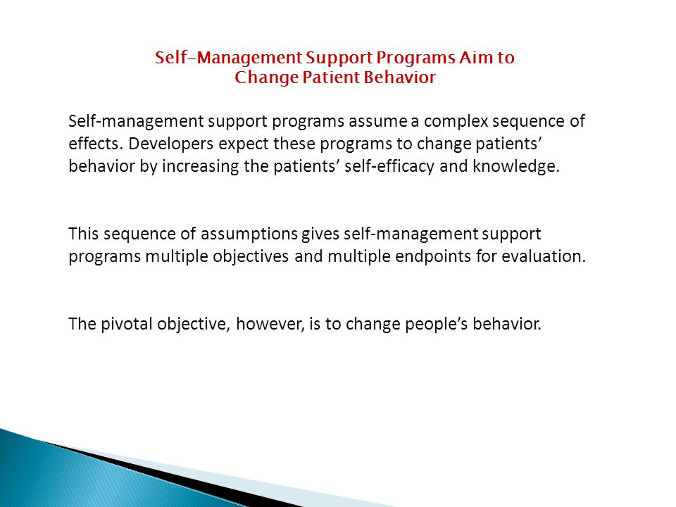 Self-Management Support Programs Aim to