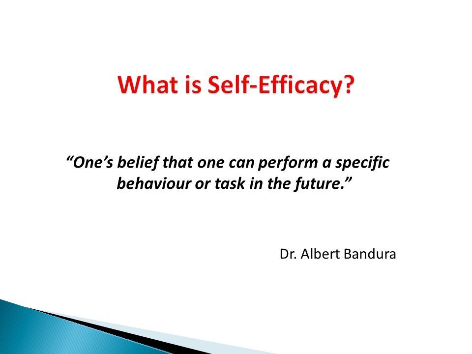 What is Self-Efficacy One's belief that one can perform a specific behaviour or task in the future.