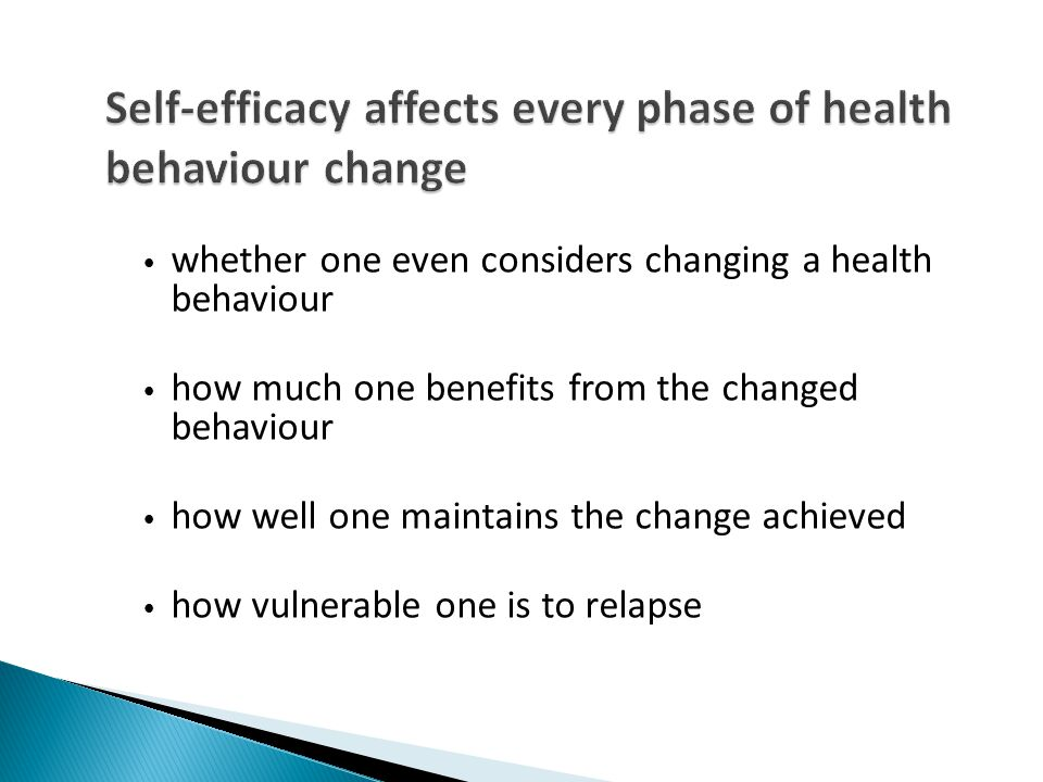 Self-efficacy affects every phase of health behaviour change