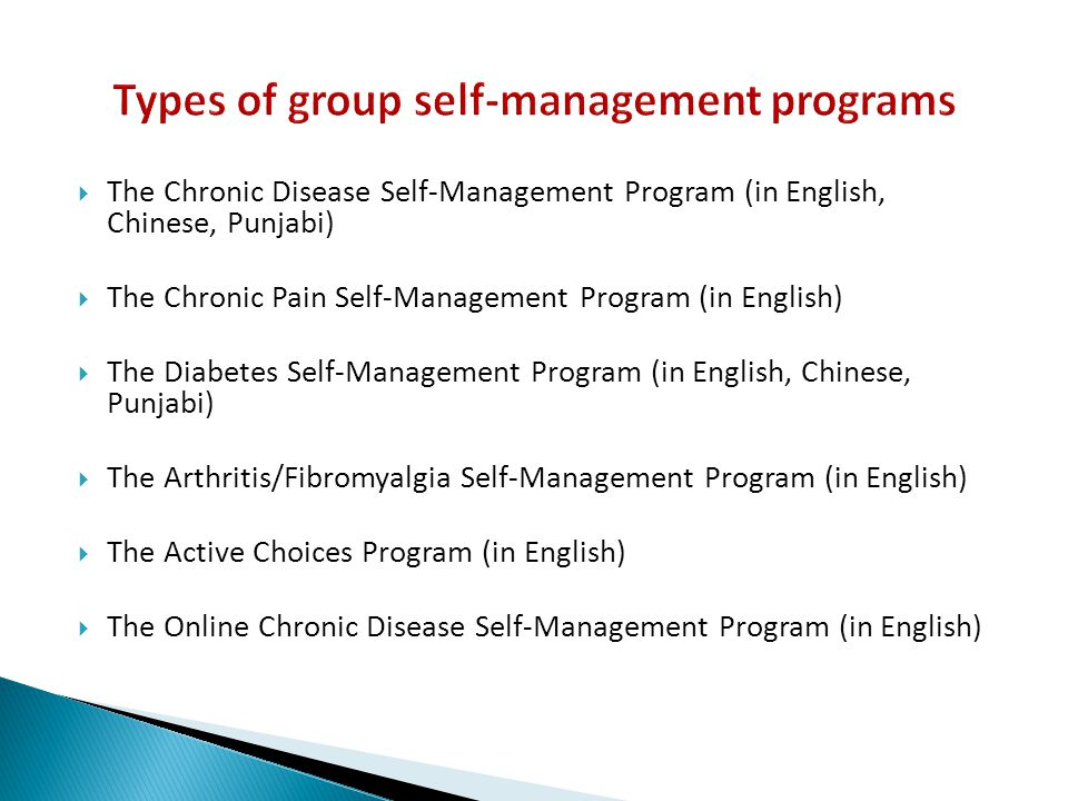 Types of group self-management programs
