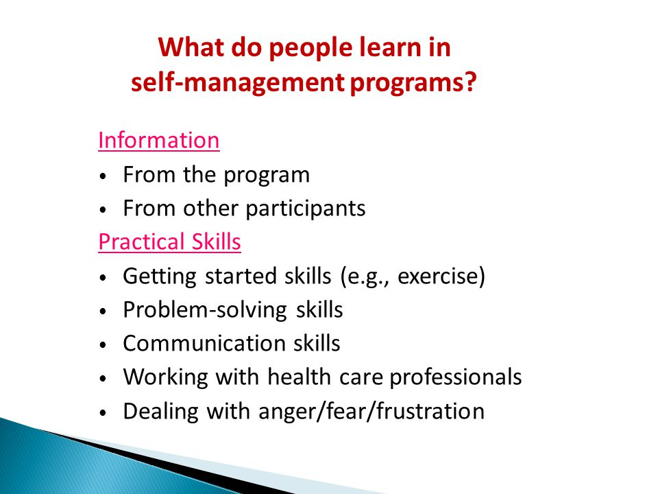 self-management programs