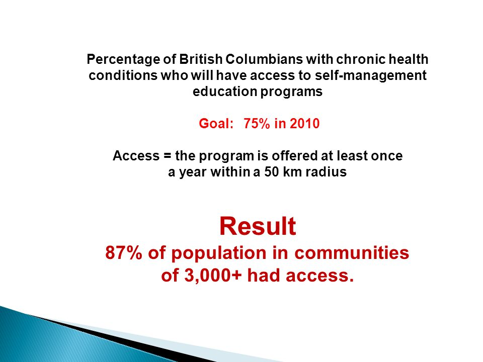 a year within a 50 km radius Result 87% of population in communities