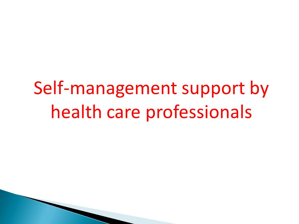 Self-management support by health care professionals