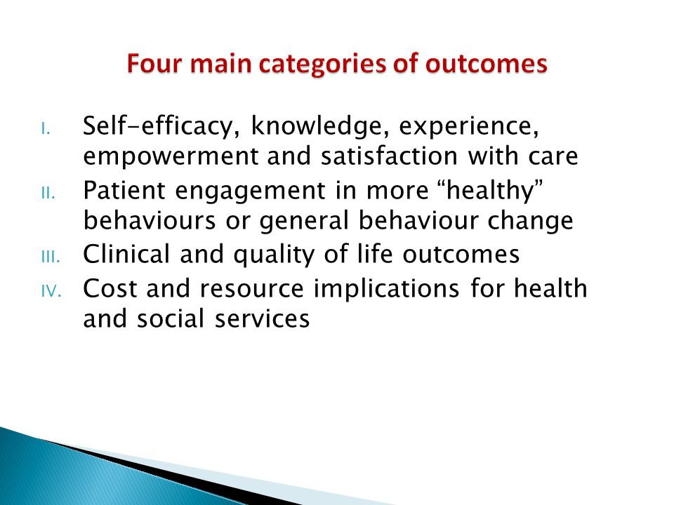 Four main categories of outcomes