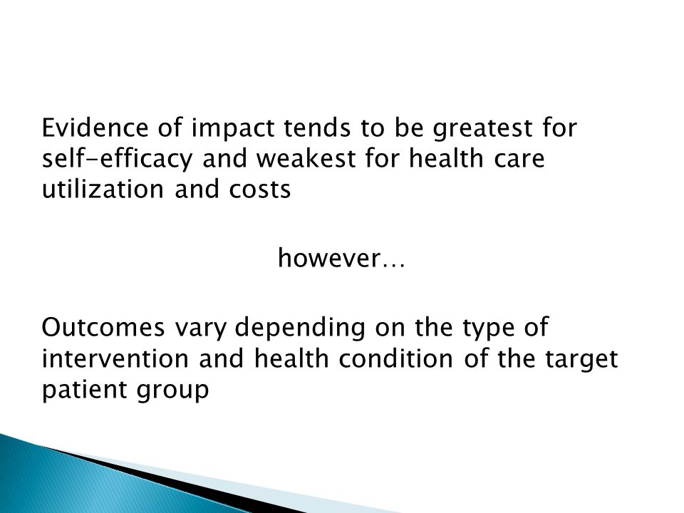Evidence of impact tends to be greatest for self-efficacy and weakest for health care utilization and costs however… Outcomes vary depending on the type of intervention and health condition of the target patient group