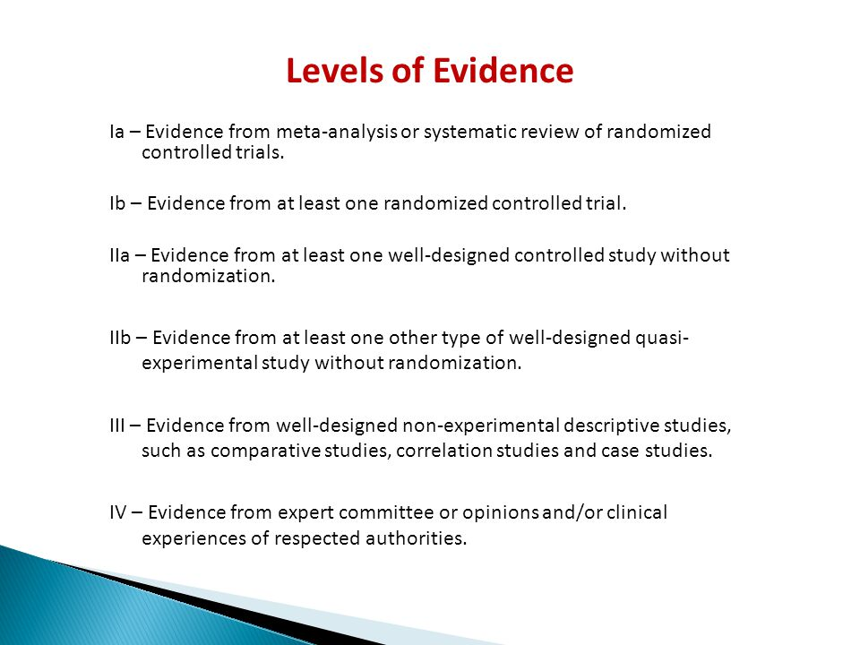 Levels of Evidence Ia – Evidence from meta-analysis or systematic review of randomized controlled trials.
