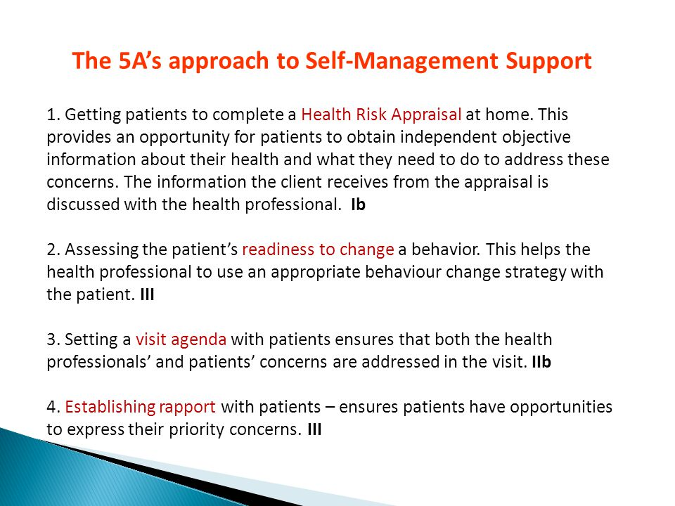 The 5A's approach to Self-Management Support