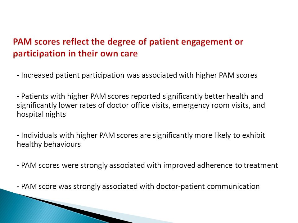 PAM scores reflect the degree of patient engagement or participation in their own care