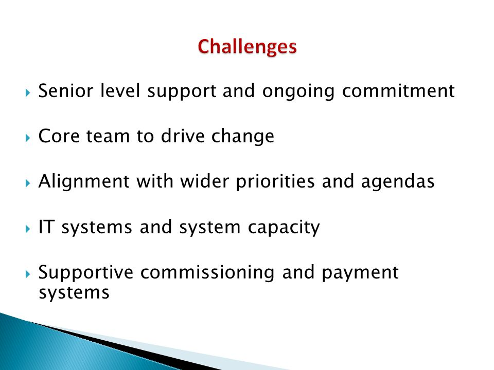 Challenges Senior level support and ongoing commitment