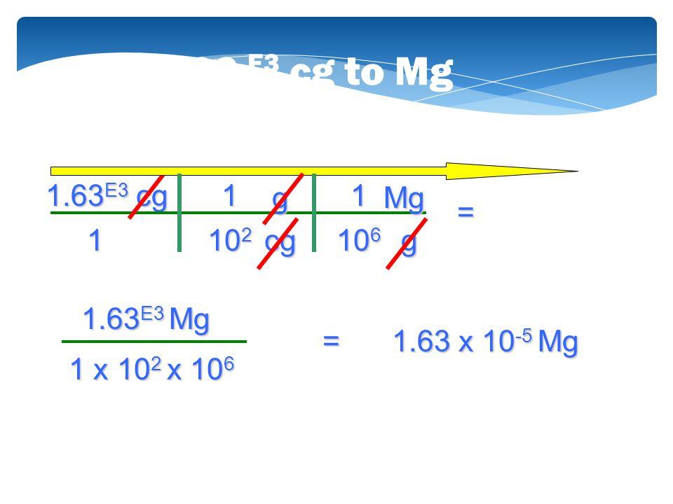 1.63 E3 cg to Mg 1.63E3 cg 1 g 1 Mg = 1 102 cg 106 g 1.63E3 Mg =