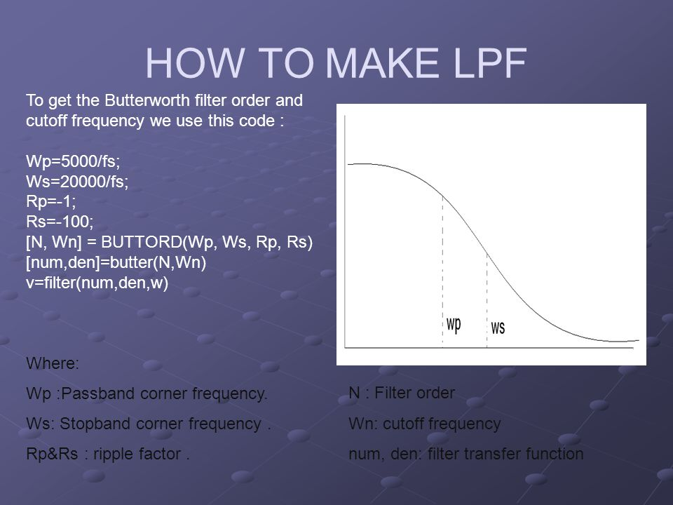 HOW TO MAKE LPF To get the Butterworth filter order and cutoff frequency we use this code : Wp=5000/fs;