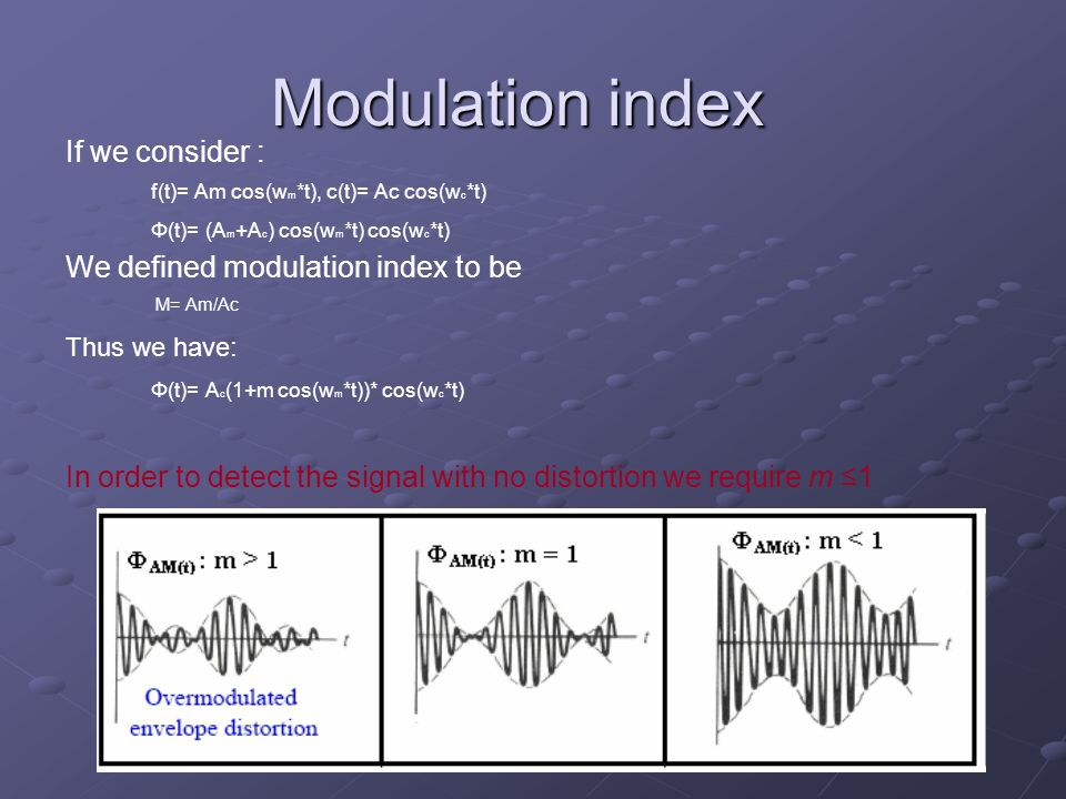 Modulation index If we consider : We defined modulation index to be