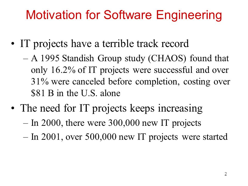 Motivation for Software Engineering