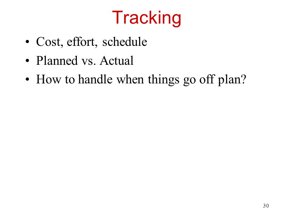 Tracking Cost, effort, schedule Planned vs. Actual