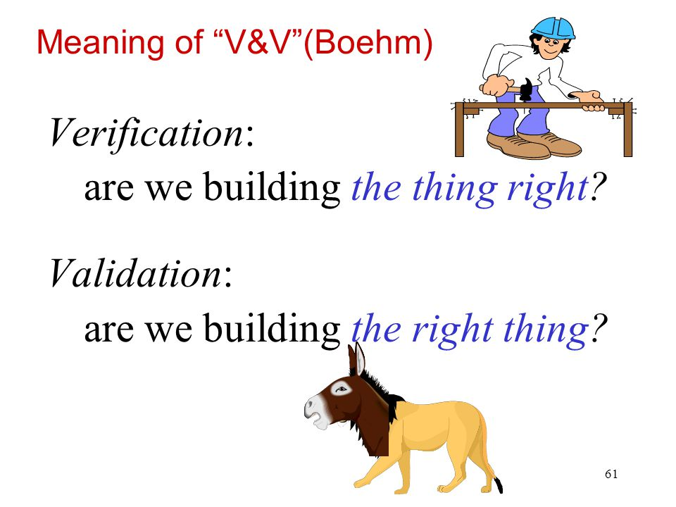are we building the thing right Validation: